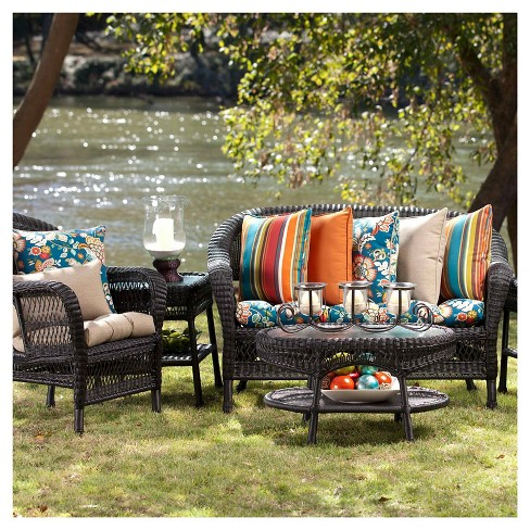 Pillow Perfect Telfair Outdoor Wicker Loveseat Cushion Blue