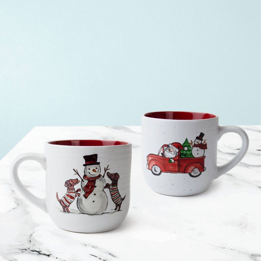 4pc Ceramic Car And Snowman Stack Rack Peppermint 38 Pine