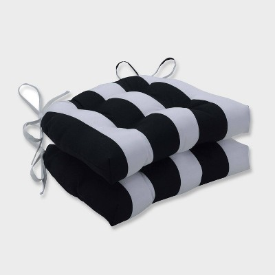 2pk Cabana Stripe Reversible Chair Pads Black - Pillow Perfect