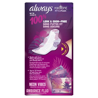 Always Radiant Pads Heavy Flow Absorbency - Scented - Size 2 - 26ct : Target