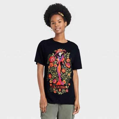 Women's Dia De Los Muertos La Catrina Short Sleeve Graphic T-Shirt - Black