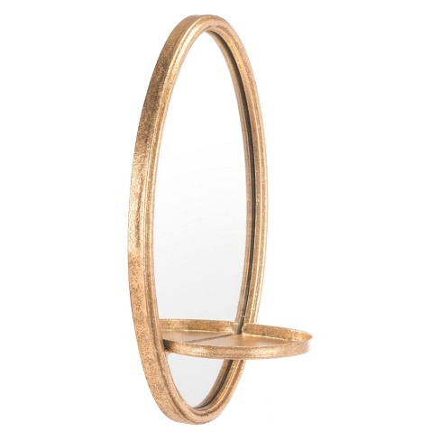 "ZM Home 12"" Luxe Oval Mirrored Shelf Gold - image 1 of 2"