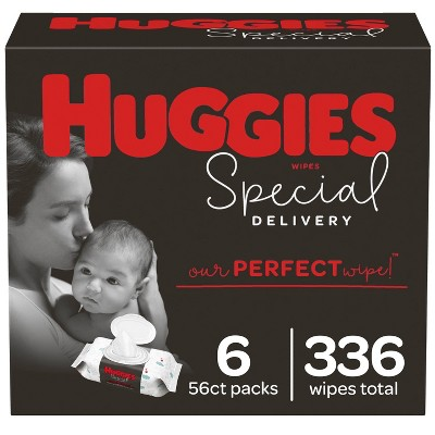 Huggies Special Delivery Hypoallergenic Baby Wipes Unscented, 6 Flip-Top Packs (336ct)
