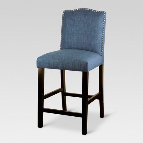 Remarkable 24 Camelot Nailhead Trim Counter Stool Hardwood Indigo Threshold Machost Co Dining Chair Design Ideas Machostcouk