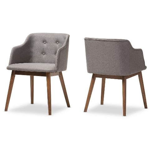 Astonishing Harrison Mid Century Modern Gray Fabric Walnut Brown Wood Button Tufted Accent Chairs Set Of 2 Baxton Studio Andrewgaddart Wooden Chair Designs For Living Room Andrewgaddartcom
