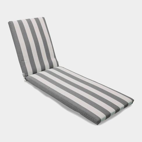 Cabana Stripe Outdoor Chaise Cushion Black Threshold
