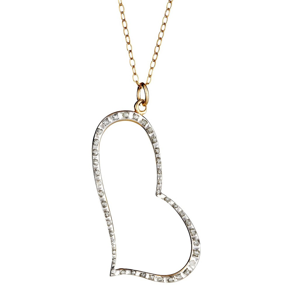 Sterling Silver Heart Pendant Necklace with Diamond Accents - Yellow