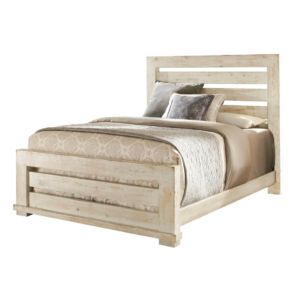 Image of King Willow Slat Complete Bed Distressed White - Progressive