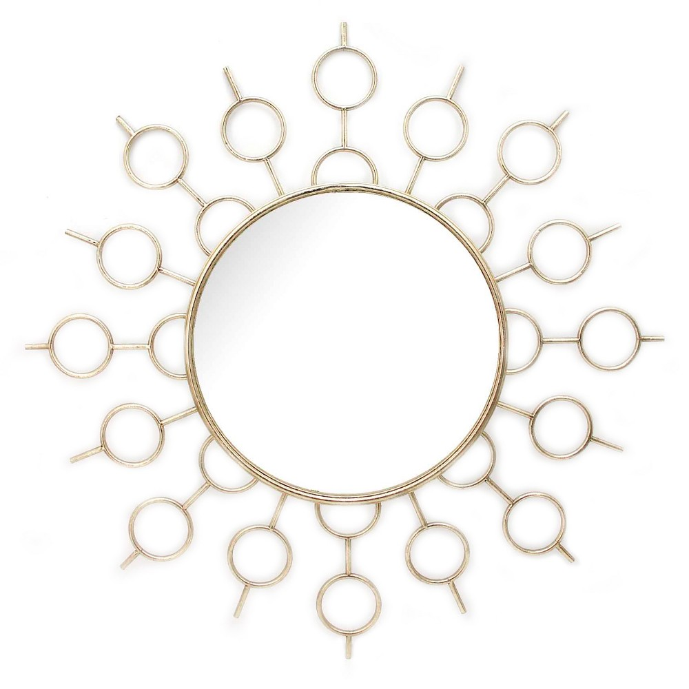 "Image of ""35.8""""x35.8"""" Round Decorative Wall Mirror Gold - Home Source"""