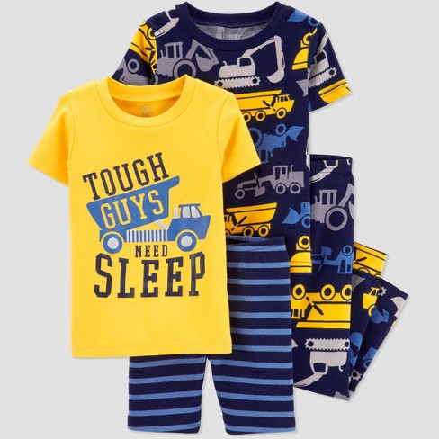 Baby Boys' 4pc Yellow Construction Pajama Set - Just One You® made by carter's Yellow/Navy - image 1 of 1