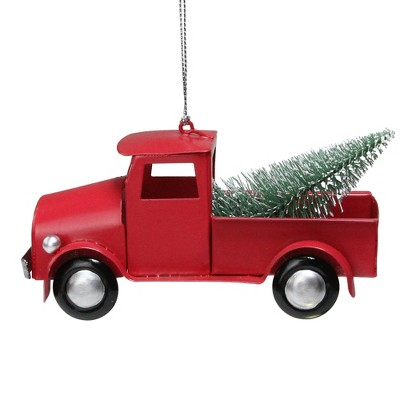 """Northlight 5"""" Red Vintage Truck with Frosted Tree Christmas Ornament"""