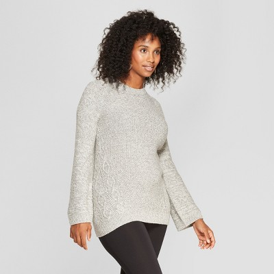 Maternity Cable Crew Sweater - Isabel Maternity by Ingrid & Isabel™ Gray L