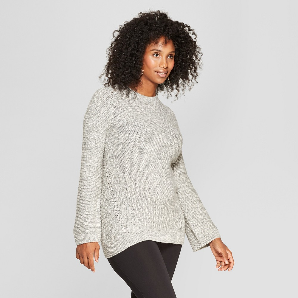 Maternity Cable Crew Sweater - Isabel Maternity by Ingrid & Isabel Gray S, Women's