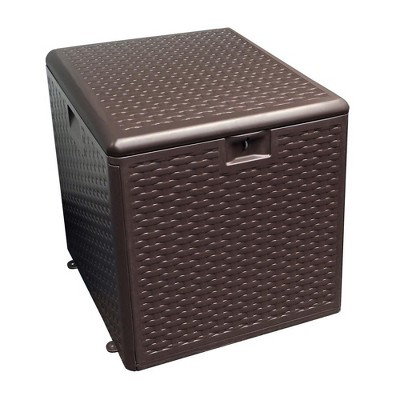 Plastic Development Group 28-Gallon Weather-Resistant Plastic Resin Outdoor Storage Patio Deck Box with Slide and Snap Assembly, Java Brown