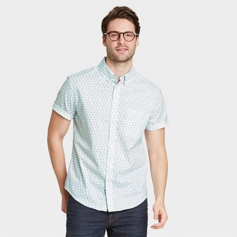 Men's Regular Fit Stretch Poplin Short Sleeve Button-Down Shirt - Goodfellow & Co™ - image 1 of 3