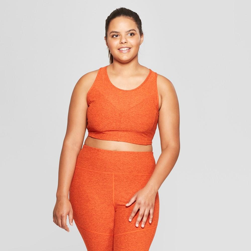 Women's Plus Size Longline Sports Bra - JoyLab Pumpkin Orange1X, Size: 1XL, Pumpkin Orange