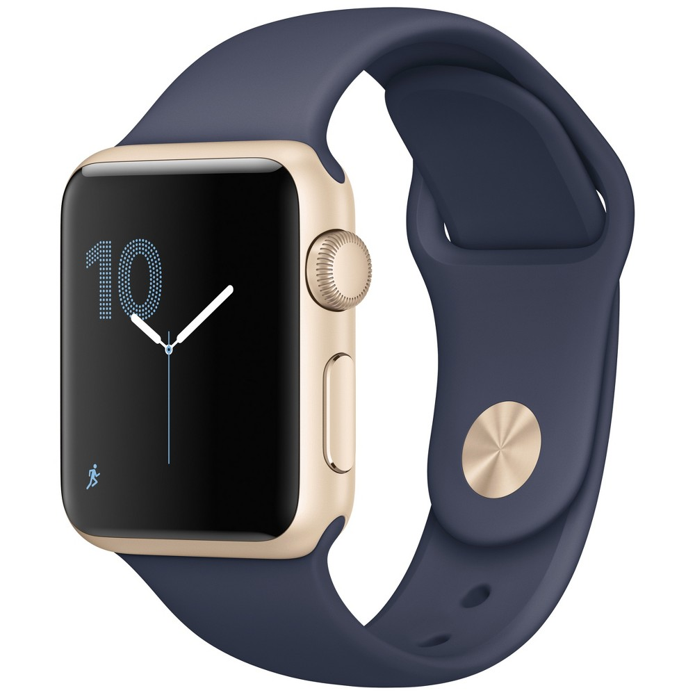Apple Watch Series 1 42mm Gold Aluminum Case with Midnight Blue Sport Band, Black