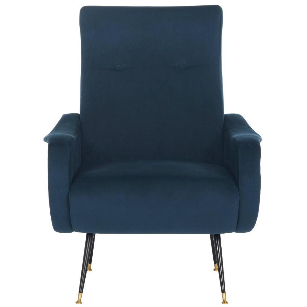 Elicia Mid-Century Arm Chair - Navy (Blue) Velvet - Safavieh