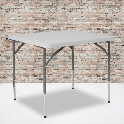 Flash Furniture 2.79-Foot Square Height Adjustable Granite White Plastic Folding Table