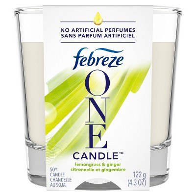 Febreze One Double - Wick Soy Candle Air Freshener - Lemongrass & Ginger - 1ct