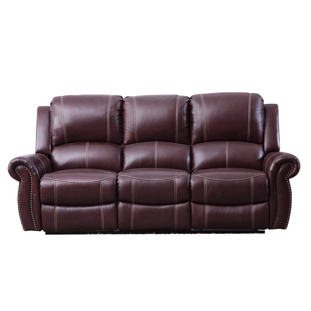 Lorenzo Top Grain Leather Reclining Sofa Burgundy (Red) - Abbyson Living