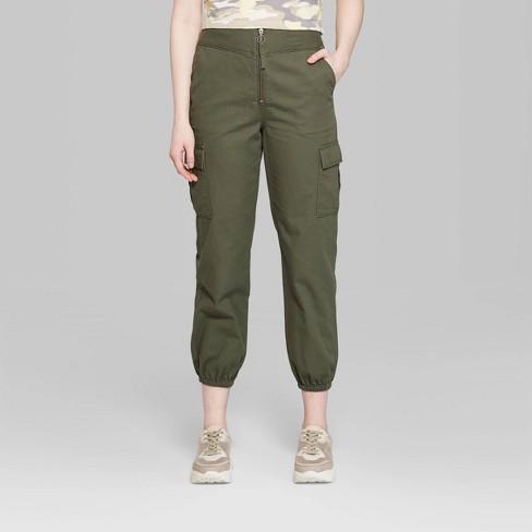 578812ca8b4d1c Women's High-Rise Zip Front Cargo Pants - Wild Fable™ Olive 14 : Target