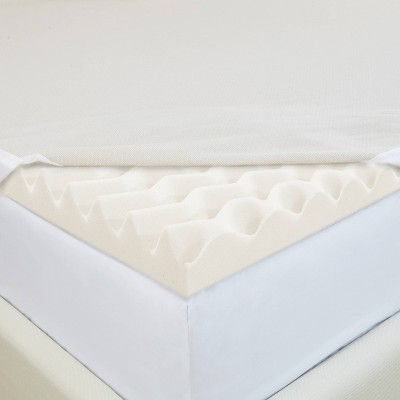 King 2  Copper Infused Wave Foam Mattress Topper with Copper Embedded Cover Beige - CopperFresh