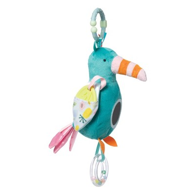 Manhattan Toy Fantasy Bird Clip-on Baby Travel Toy with Baby-Safe Mirror, Ring Rattle and Teether