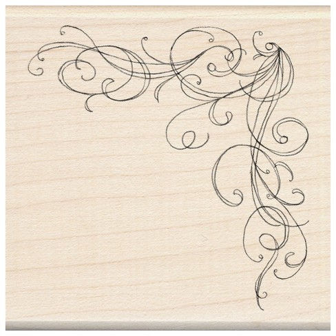 Rubber Stamp with Wood Handle - Corner Flourish - image 1 of 1