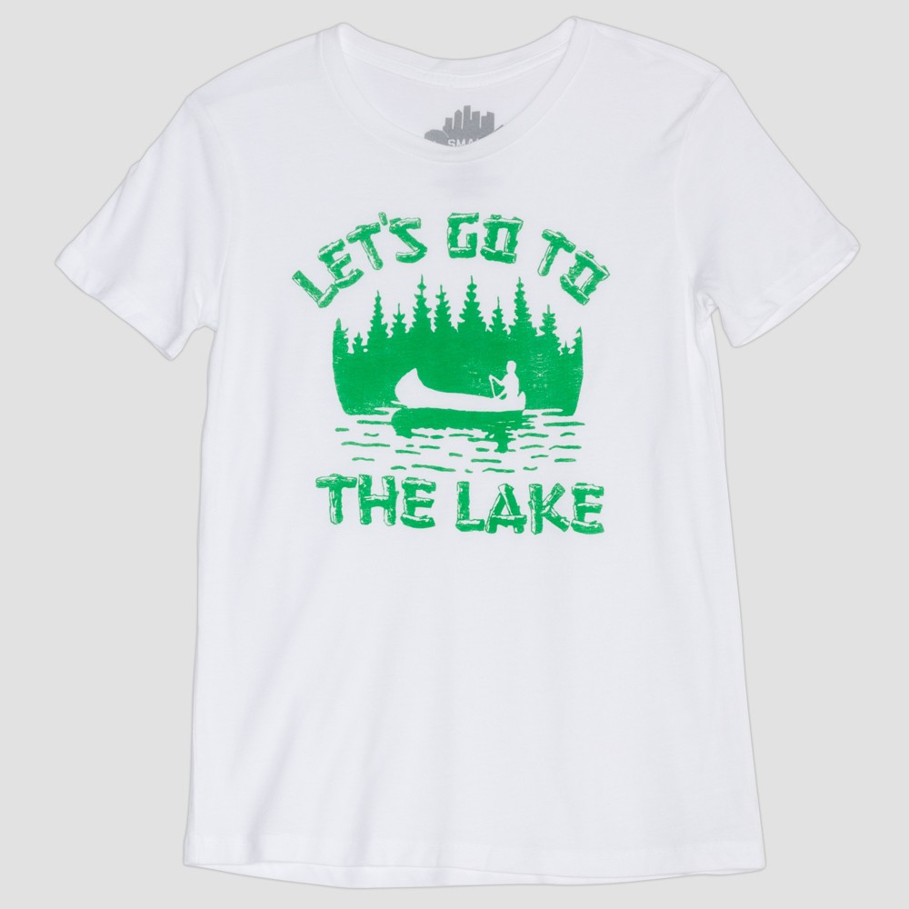 Women's Short Sleeve Let's Go to the Lake Graphic T-Shirt - Awake White M