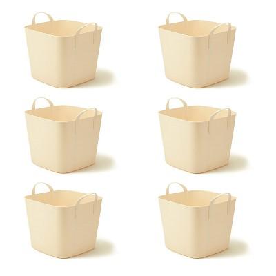 Life Story Tub 25L Tan Tub Basket 6.6 Gal Plastic Storage Tote Bin w/ Carry Handles, Tan (6 Pack)