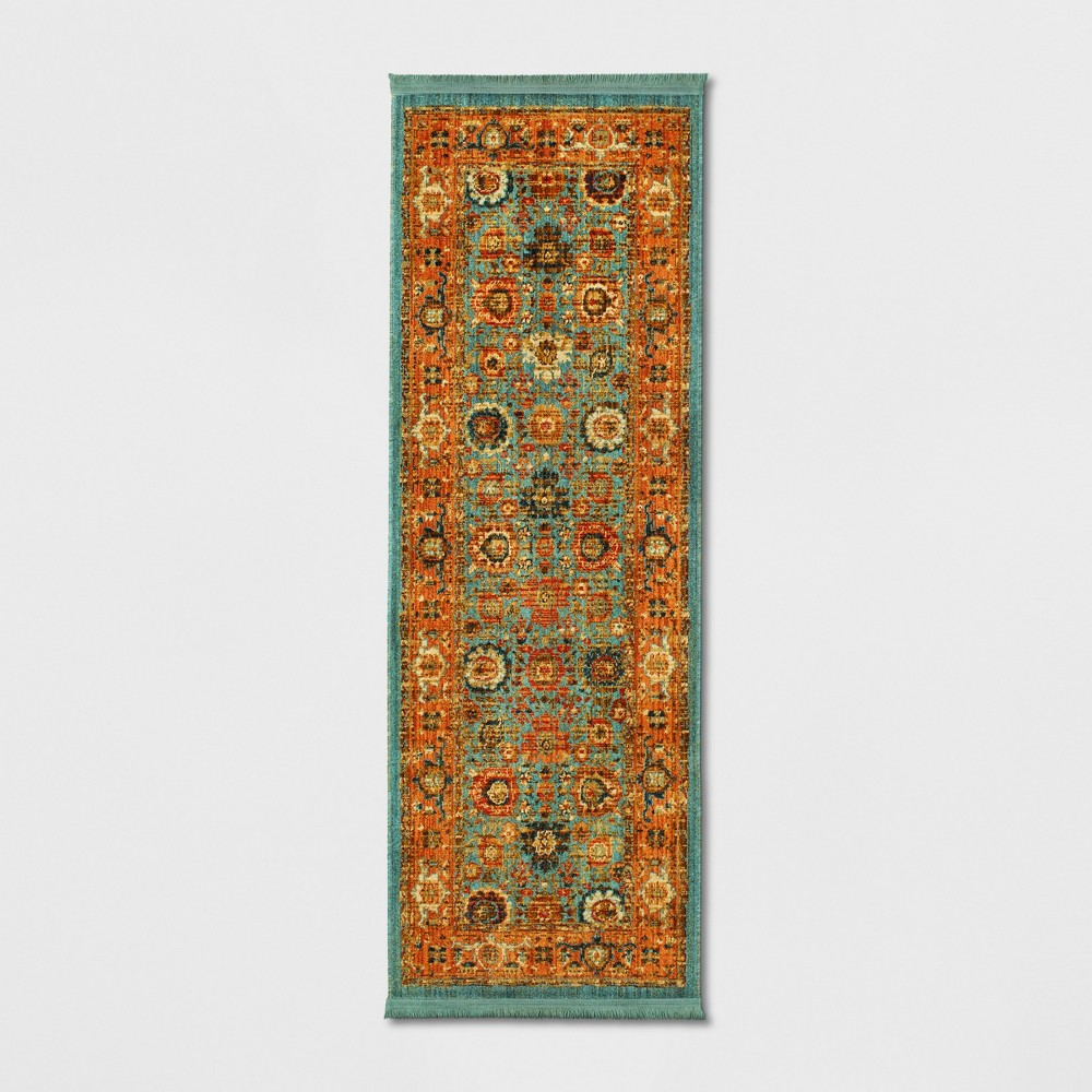 2'4X7' Floral Woven Accent Rugs Teal (Blue) - Threshold