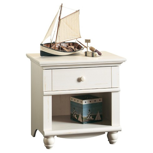Harbor View Nightstand with Drawer and Storage Shelf - Antiqued White - Sauder - image 1 of 1