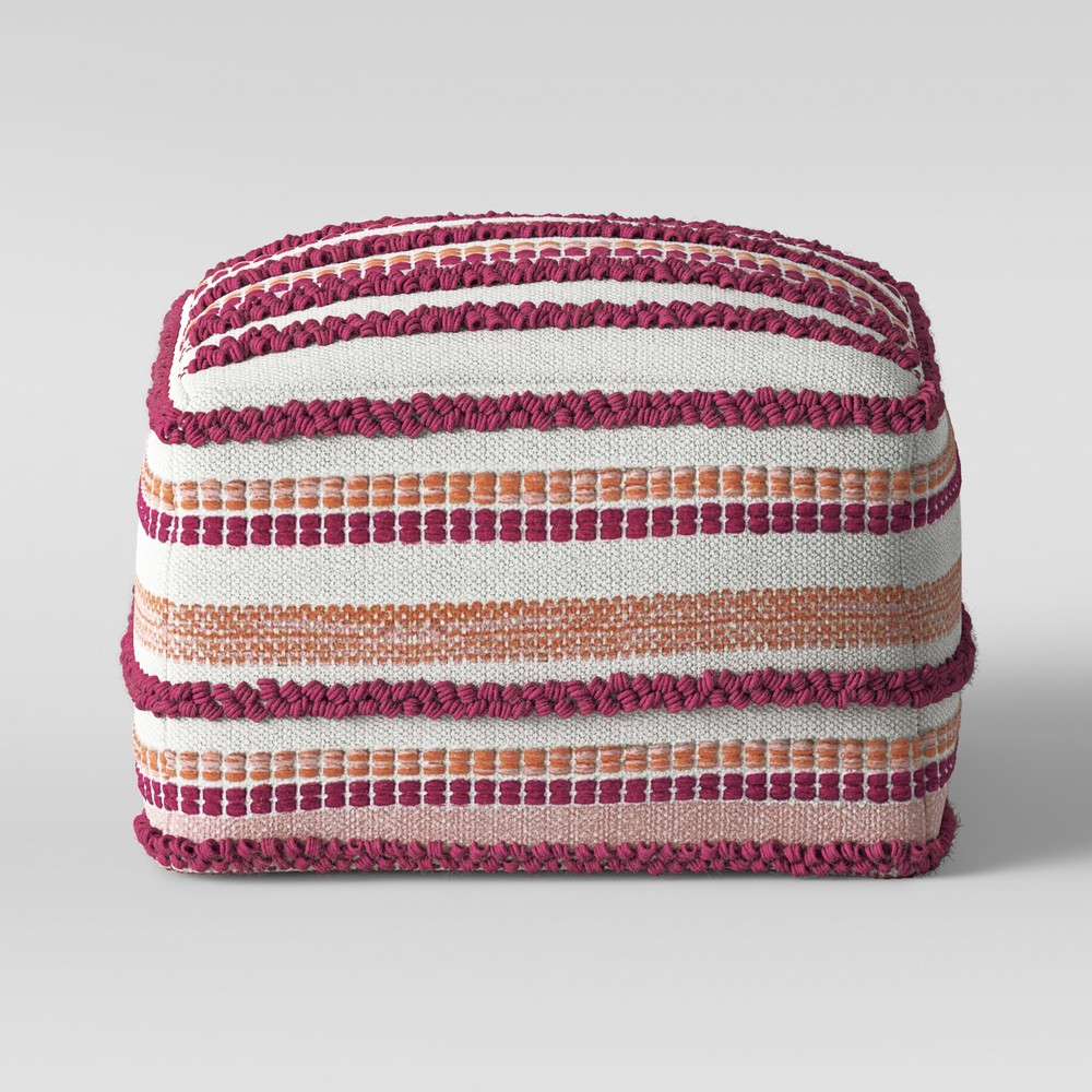 Create comfortable and inspired spaces in your home by using this Lory Pouf from Opalhouse? to make your own eclectic style. This square ottoman pouf combines a unique variety of textures - from tufts to tassels to beads - to create a lively look. Made with a cotton and wool blend for softness and durability, this textured pouf ottoman is perfect for placing in front of a couch or armchair. This is your house. Where you create spaces as bold as your spirit. Collect objects as inspired as your dreams. Find pieces that remind you of every place you\\\'ve been. Discover stories to inspire everywhere you have yet to go. This is Opalhouse. Color: Pink. Gender: unisex. Pattern: Stripe.