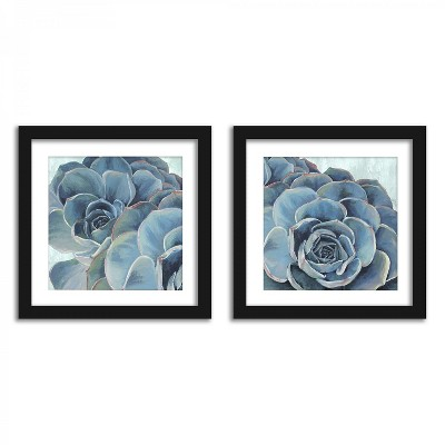 Americanflat Blue Succulent Study - Set of 2 Framed Prints by PI Creative
