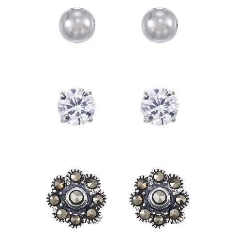Marcasite 5mm Flower Stud Earrings +5mm Ball Earrings Set-Sterling Silver - image 1 of 1