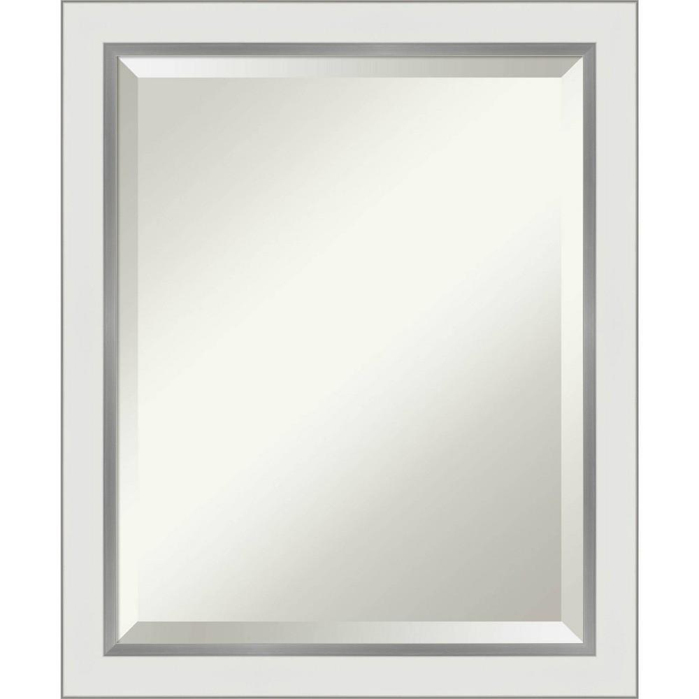 "Image of ""19"""" x 23"""" Eva Narrow Framed Bathroom Vanity Wall Mirror White/Silver - Amanti Art"""