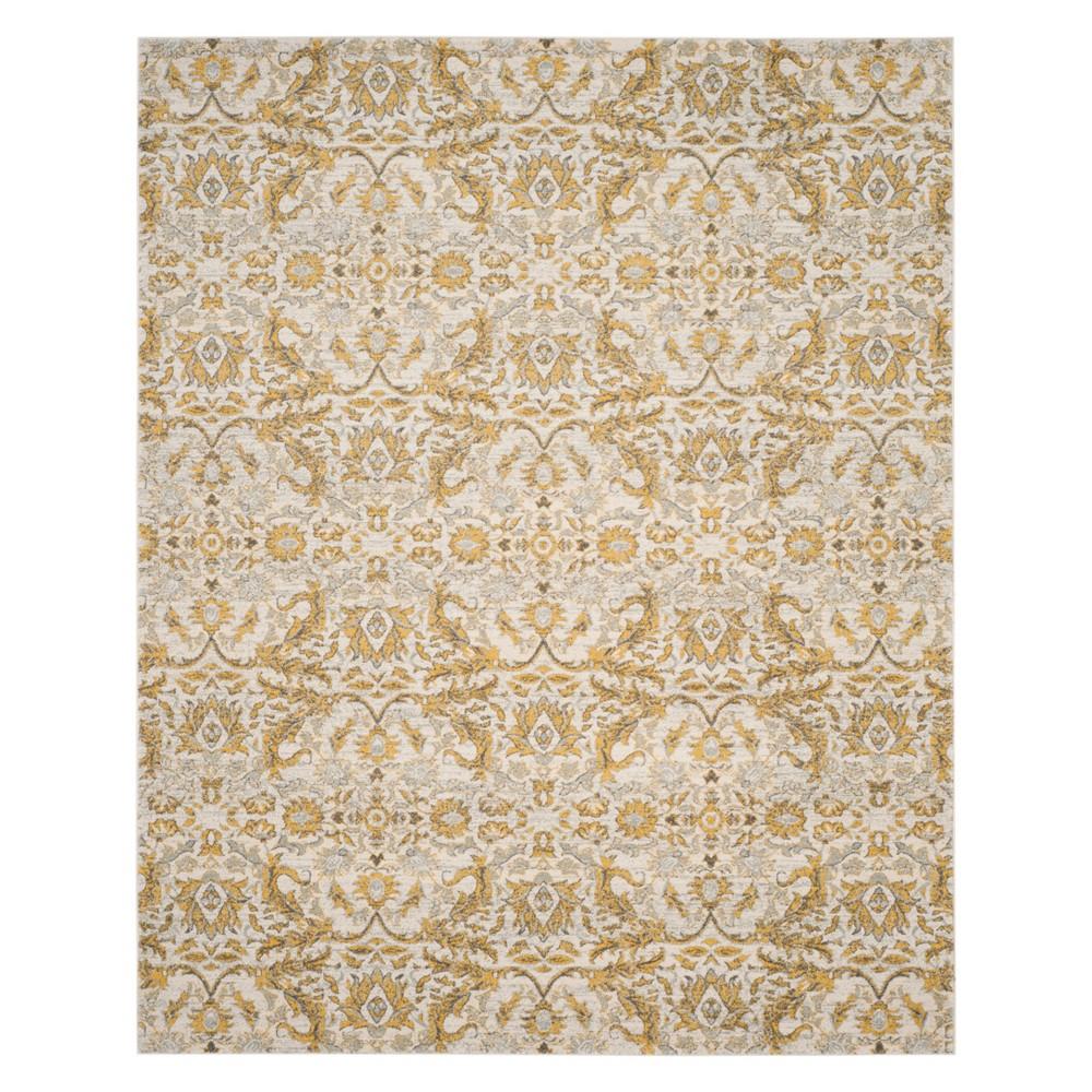 Floral Area Rug Ivory/Gold