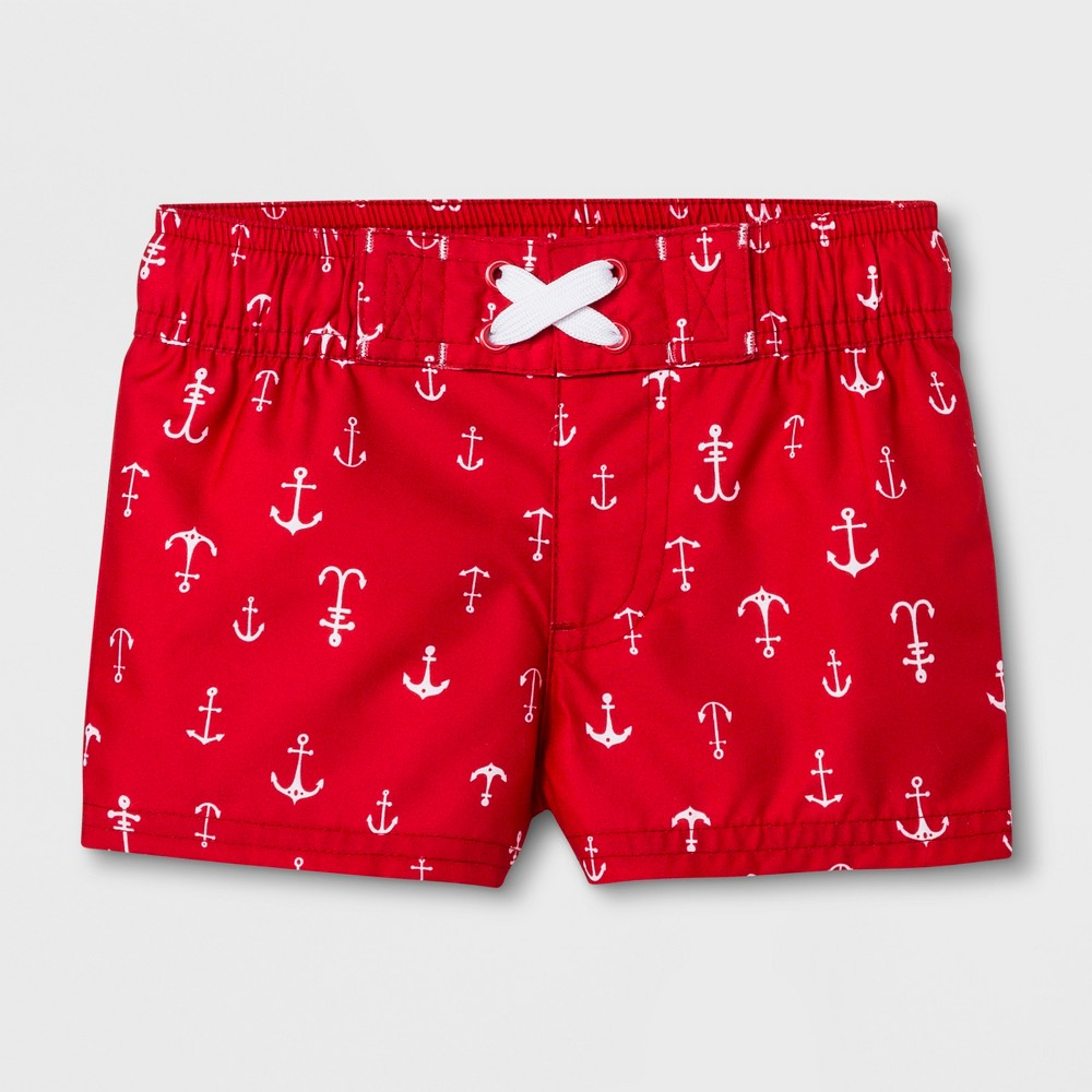 Baby Boys' Anchor Swim Trunks - Cat & Jack Red 3-6M