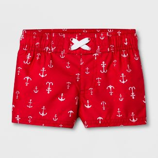 Baby Boys' Anchor Swim Trunks - Cat & Jack™ Red 3-6M