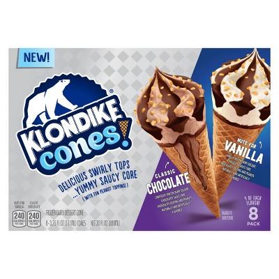 Klondike Frozen Dessert with Nuts for Vanilla & Classic Chocolate Cones – 30oz/8ct