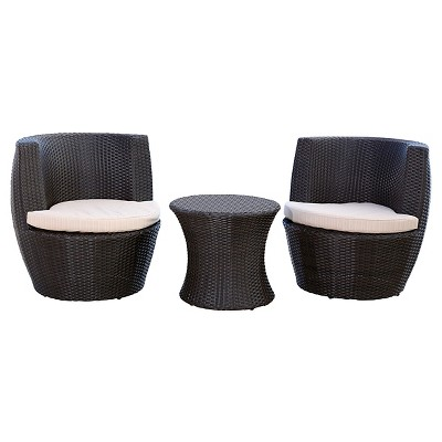 Newport Outdoor Wicker 3 Pc Bistro Chair Set - Espresso - Abbyson Living
