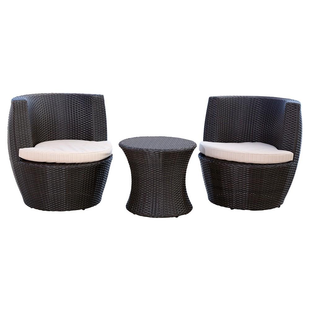 3pc Newport Outdoor Wicker Bistro Chair Set Espresso - Abbyson Living