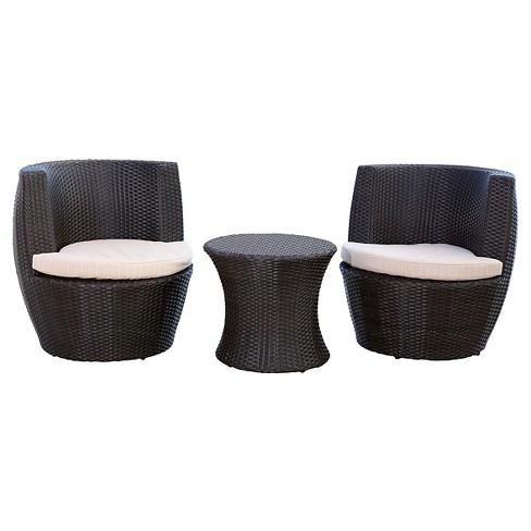 3pc Newport Outdoor Wicker Bistro Chair Set Espresso - Abbyson Living - image 1 of 4