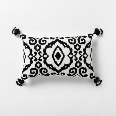 Embroidered Ikat Velvet Lumbar Pillow with Tassels Black - Opalhouse™
