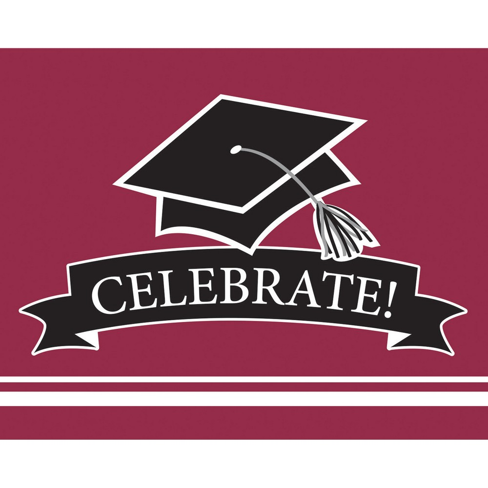 25ct Burgundy (Red) Graduation School Invitations