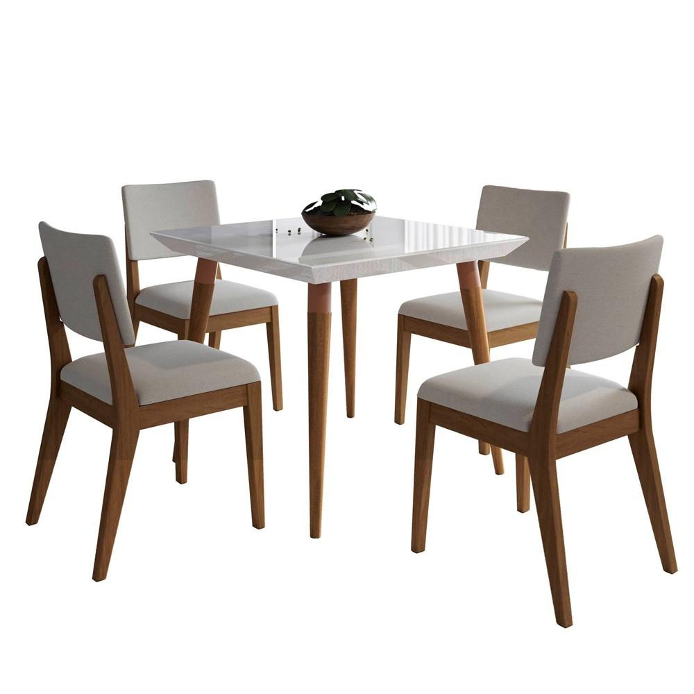 35.43 5pc Utopia and Dover Dining Set Gloss White/Beige - Manhattan Comfort