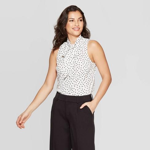 849497023136f6 Women's Polka Dot Sleeveless V-Neck Blouse - A New Day™ White/Black ...