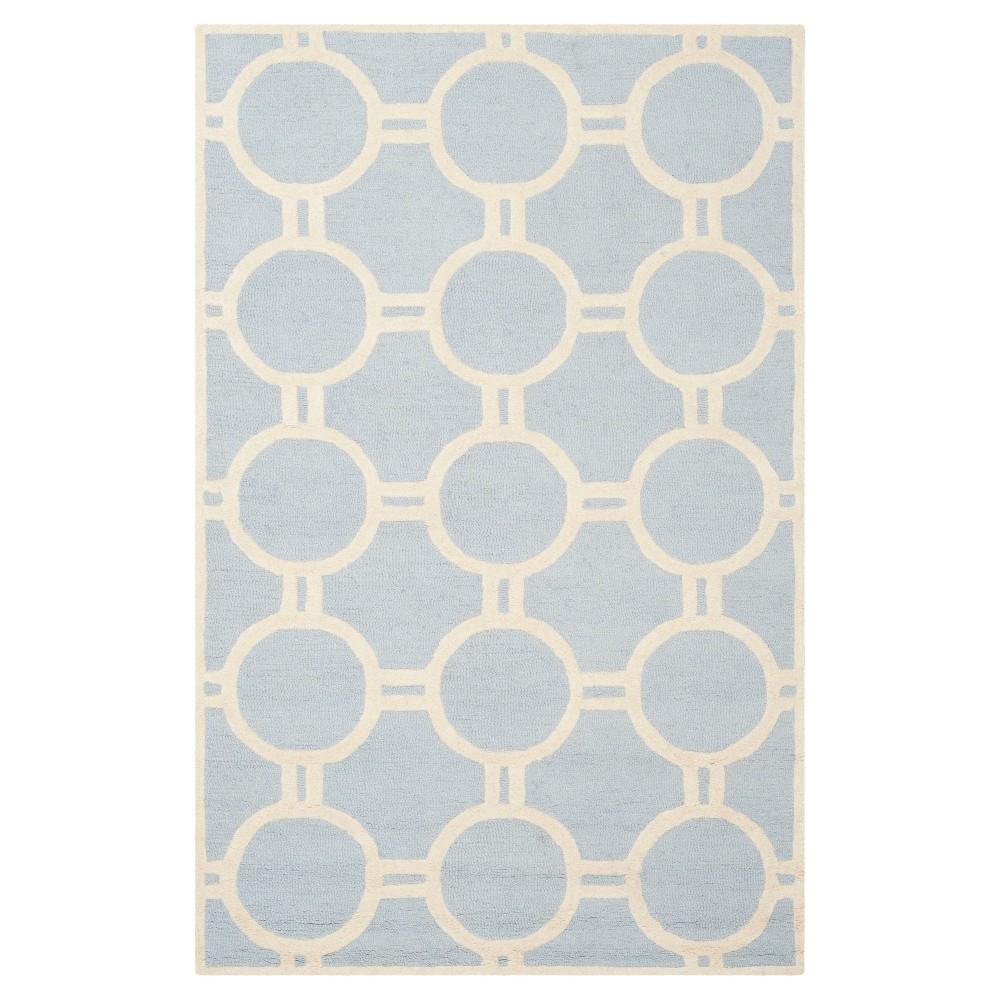 Sullivan Texture Wool Rug Light Blue Ivory 5 39 X 8 39 Safavieh