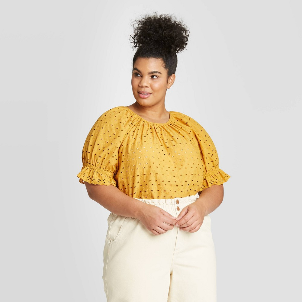 Women's Plus Size Short Sleeve Eyelet Top - Universal Thread Gold 4X, Women's, Size: 4XL was $24.99 now $17.49 (30.0% off)